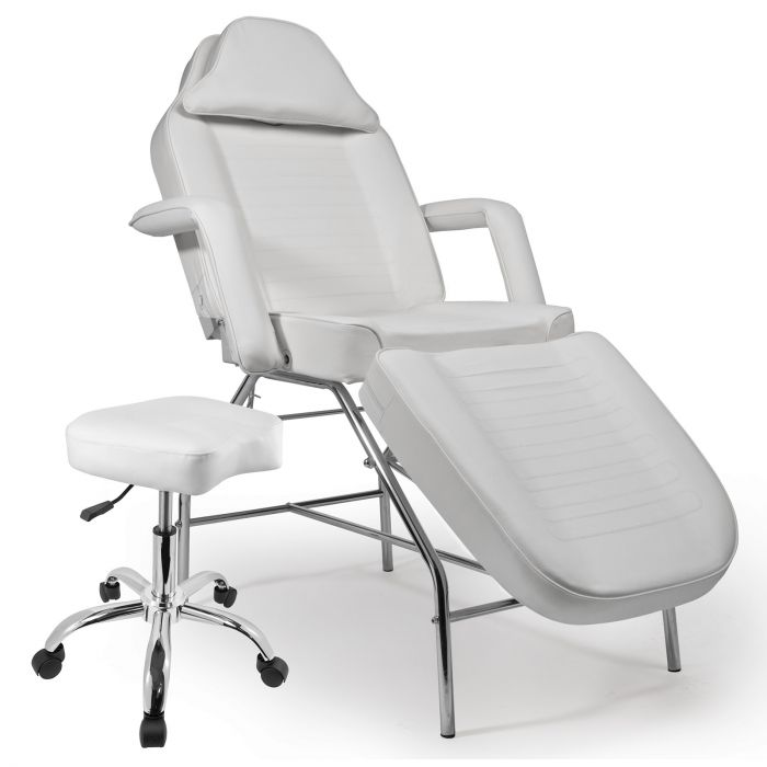 Groovy Saloniture Professional Multi Purpose Salon Chair Massage Table With Adjustable Stool White Bralicious Painted Fabric Chair Ideas Braliciousco
