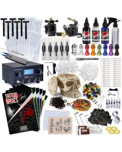 Rehab Ink Professional Tattoo Kit w/ 3 Ink Colors, Skull Ink Holder, 2 Guns, Power Supply & More