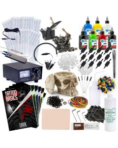 Rehab Ink Complete Tattoo Set w/ 2 Guns, Power Supply, 7 Starbrite Ink Colors, Skull Ink Holder & More
