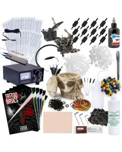 Rehab Ink Complete Tattoo Set w/ 2 Guns, Power Supply, Starbrite Ink, Skull Ink Holder & More