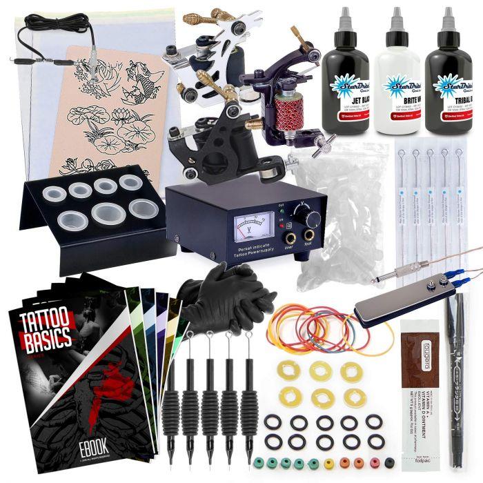 Rehab Ink Complete Tattoo Machine Kit - 3 Gun Set with Starbrite Ink