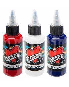 Millennium Mom's Tattoo Ink Set - Red White Blue - 1/2 oz