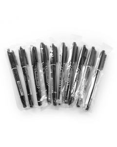 Tattoo and Piercing Dual (Regular & Fine) Tip Skin Marking Pens - Black - Package of 10