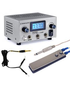 AmeriVolt Dual Tattoo Power Supply Kit for Two Machines w/ Flat Foot Pedal & Clip Cord - Silver