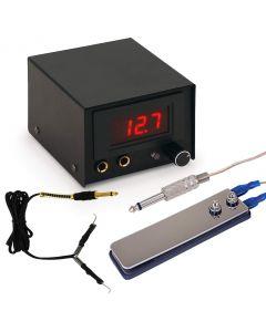 AmeriVolt Digital Tattoo Power Supply Kit w/ Flat Foot Pedal & Clip Cord - Black